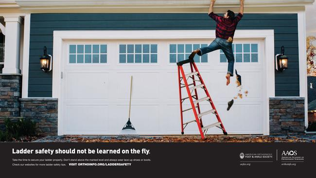 AAOS print public service advertisement on ladder safety