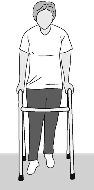 Illustration of woman using walker