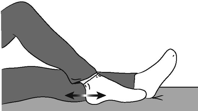 Illustration of bed-supported knee bend