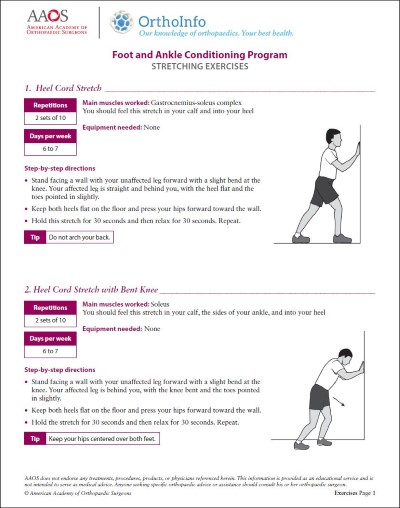 Foot And Ankle Rehabilitation Exercises Orthoinfo Aaos