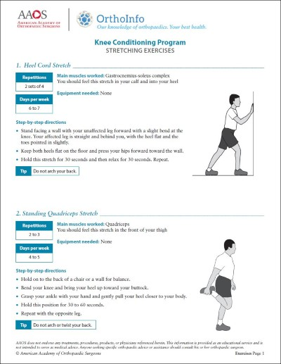 Knee Rehabilitation Exercises Orthoinfo Aaos
